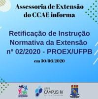 Retificação da instrução normativa n° 02/2020 PROEX/UFPB