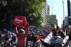 Paralisação organizada por entregadores de aplicativos ocorreu em 1º de julho, em São Paulo (SP). Crédito: Rafael Fonseca e Altair Burghi